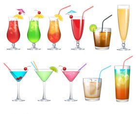 Coctailset with cup glass vector material 02