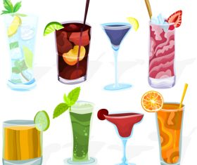 Coctailset with cup glass vector material 03