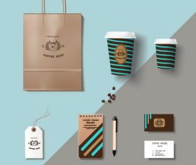 Coffee cup coffee handbag material vector 01