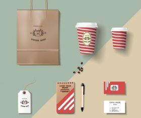Coffee cup coffee handbag material vector 04