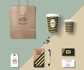 Coffee cup coffee handbag material vector 05