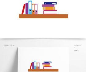 Color cartoon bookshelf vector material