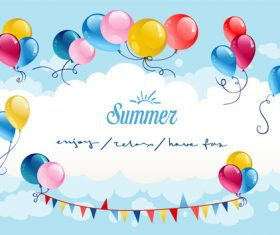 Color summer sky balloon vector material
