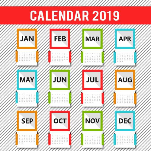 Colored gird 2019 calendar template vector