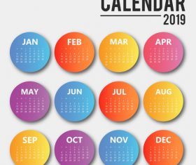 Colored round 2019 calendar template vector