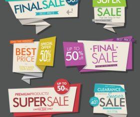 Colorful retro sale labels design vector set 03