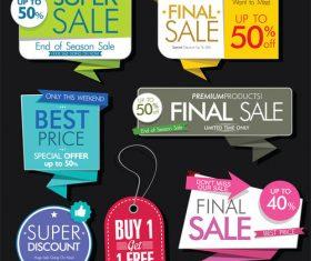 Colorful retro sale labels design vector set 04