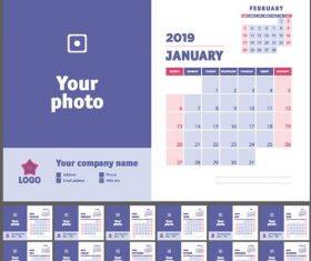 Company 2019 Desk calendar template blue styles vector