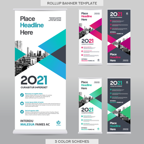 company rollup scroll vertical banners template vector 01 free download