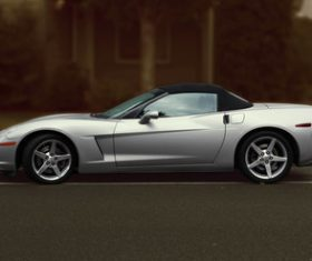 Cool four-seat silver sports car Stock Photo