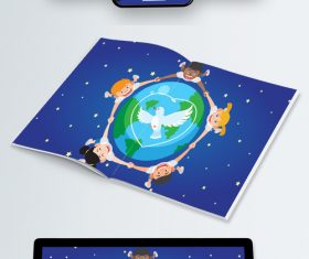Countries children hand in hand around the earth vector