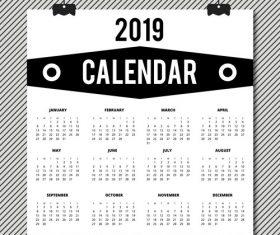 Cover 2019 calendar template vector