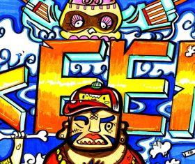 Creative doodle color cartoon illustration vector