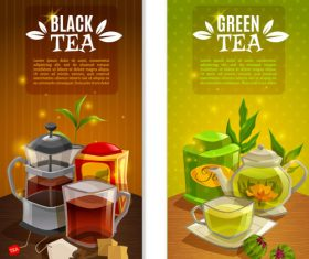 Creative tea drink banner vector material