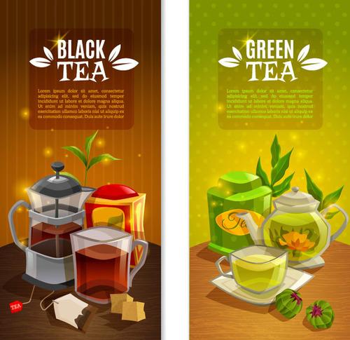 Creative tea drink banner vector material
