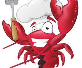 Cute Lobster Chef with Spatula vector