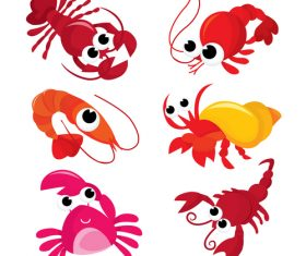 Cute lobster and crab vector