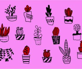 Cute potted background vector