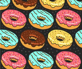 Delicious donut seamless background vector material