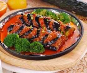 Delicious iron plate braised eggplant Stock Photo 12