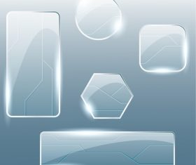Different shape glass plates vector
