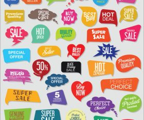 Different shape sale labels design vector