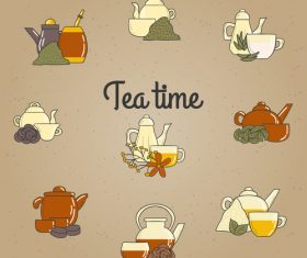 Different tea service vector material
