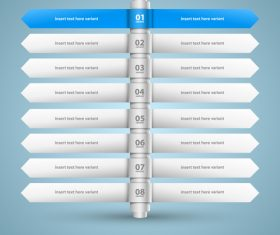 Direction list with options Infographic vector 03