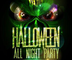 Disco Monster Halloween Party Poster green vector