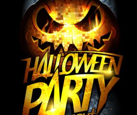 Disco Pumpkin Head Halloween Party Poster moon vector