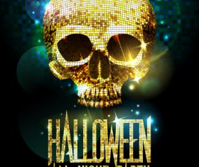 Disco Skull Halloween Party Poster gold vector