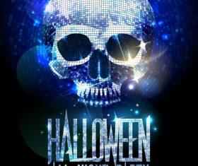 Disco Skull Halloween Party Poster silver vector