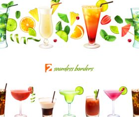 Drink seamless borders vector