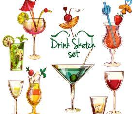 Drink sketch design vector material