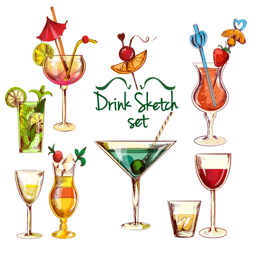 Drink sketch design vector material