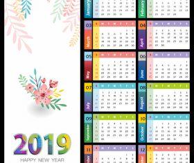 Elegant 2019 calendar template vector 01