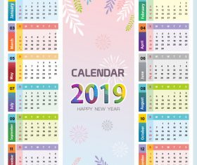 Elegant 2019 calendar template vector 02