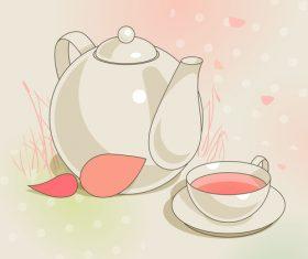 Elegant tea background design vectors 01