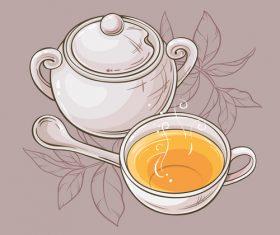 Elegant tea background design vectors 02