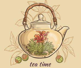 Elegant tea background design vectors 03