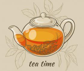 Elegant tea background design vectors 04