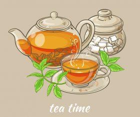Elegant tea background design vectors 05