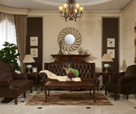European-style living room design Stock Photo 01