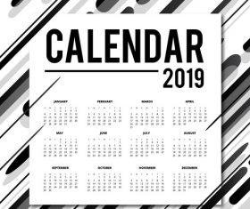 Fashion 2019 calendar template black vector