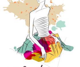 Fashion girl with autumn background vector 02
