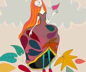 Fashion girl with autumn background vector 04