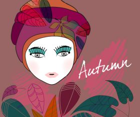 Fashion girl with autumn background vector 05