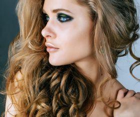 Fashion model face close up Stock Photo 02
