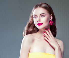 Fashionable bright makeup girl wearing flower earrings Stock Photo 07