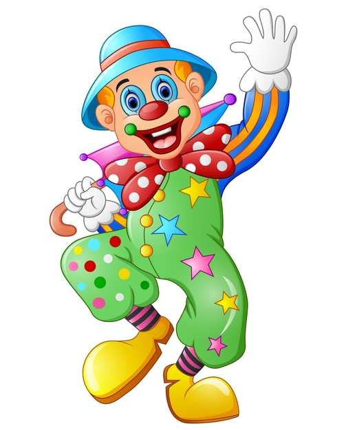 Festival cheerful clown illustration vector 01